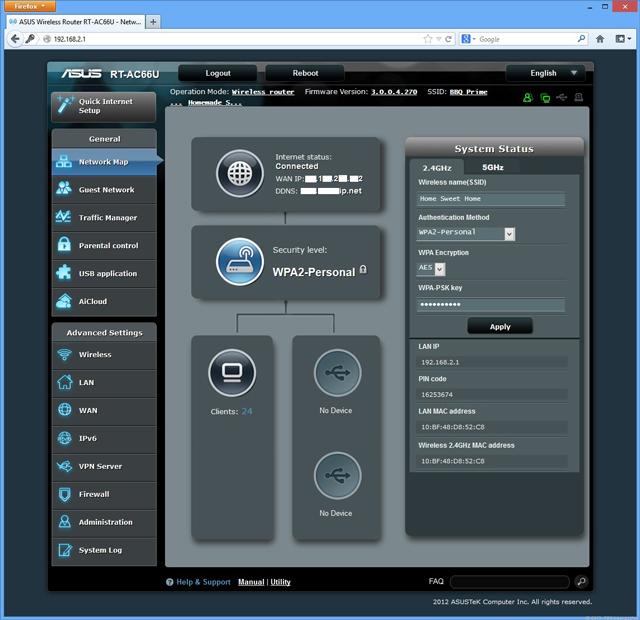 Смена пароля WiFi на роутере Asus